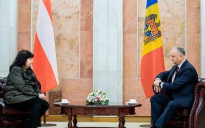 Igor Dodon s-a optat pentru creșterea volumului comerțului bilateral cu Austria