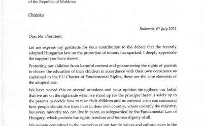 Получил от премьер-министра Венгрии Виктора Орбана письмо признательности за мою поддержку закона, ограждающего несовершеннолетних от пропаганды порнографии, сексуального насилия, гомосексуализма и прочих извращений